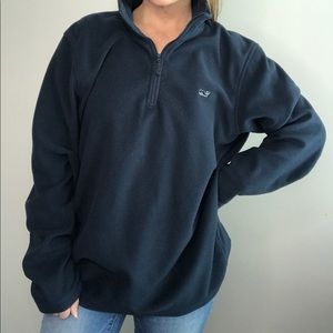 Vineyard Vines Navy Blue half zip fleece pullover